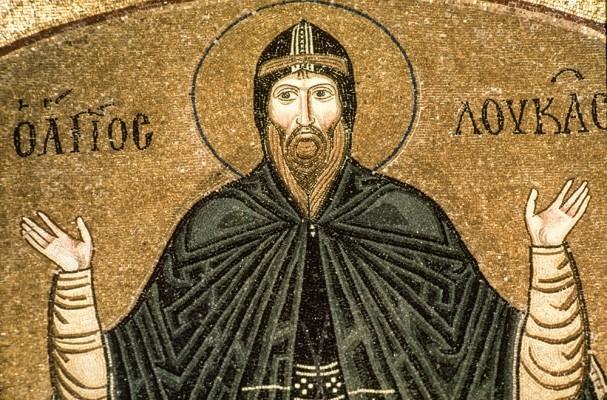 Ο Άγιος Λουκάς. Ψηφιδωτό 11ου αιώνα