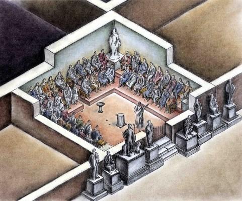 Άποψη του εσωτερικού του χώρου Ε του Σεβαστείου, που αποτελούσε το Βουλευτήριο της ρωμαϊκής πόλης.