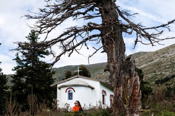 Χαλάρωση στην λιακάδα, μπροστά στο εκκλησάκι του Προφητηλία.