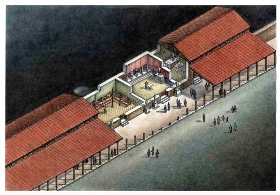 Σχεδιαστική αναπαράσταση του δεξιού μισού του συγκροτήματος του Σεβαστείου