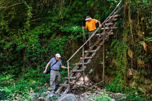 Ξύλινη σκάλα που οδηγεί στον 2ο καταρράκτη