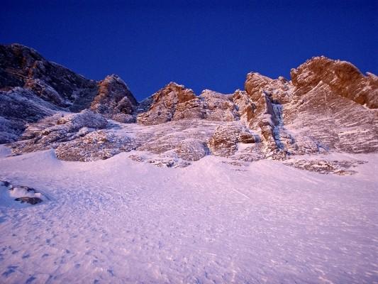 Alpen glow κάτω από το Θρόνο του Δία - Στεφάνι.