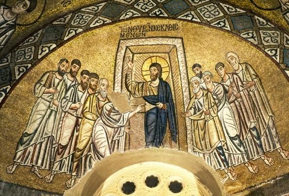 Η ψηλάφηση του Θωμά. Ψηφιδωτό 11ου αιώνα
